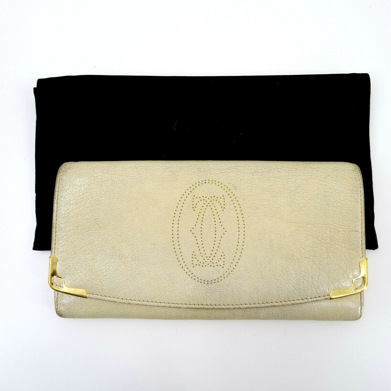 Cartier Vintage Leather Purse Wallet Cardholder in White/Cream/Ivory + Dustbag