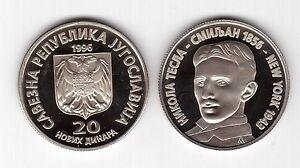 YUGOSLAVIA-SERBIA-RARE-20-NEW-DINAR-PROOF-COIN-1996-YEAR-KM-169-NICOLA-TESLA