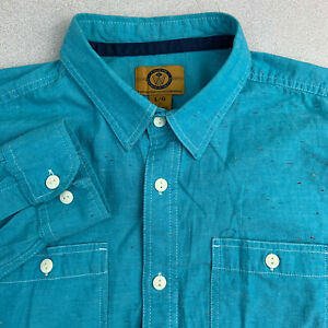 Stapleford-Workwear-Button-Up-Shirt-Mens-Large-Blue-Long-Sleeve-Casual