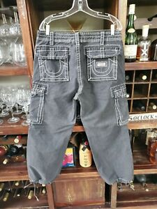 Para Hombres Gris Blanco Costura Cordon Pantalones Cargo Recortada True Religion 32x28 Ebay