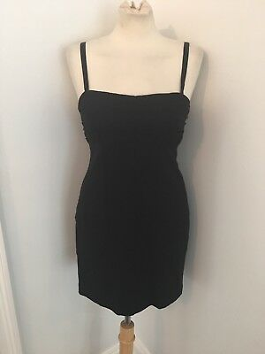 ALICE + OLIVIA $367 Black Sheath Dress Stretch Rayon Silk Lined Size S