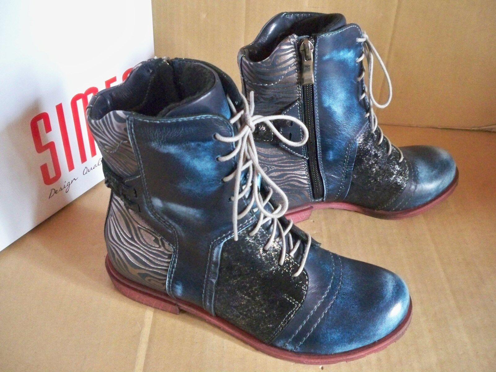 SIMEN  Stiefel Stiefelette Stiefel 9767 blau lose Einlage  Leder Warmfutter Gr36