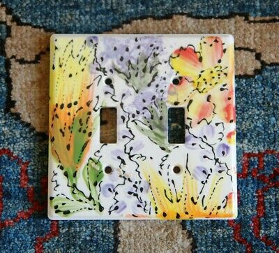 Beautiful Hand Painted Double Wall Switchplate Light Switch Cover Artisan Made Ebay