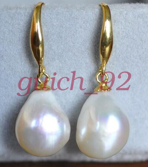 Gorgeous AAA 12-10mm South Sea White Baroque Pearl Earrings 14K YELLOW GOLD #96
