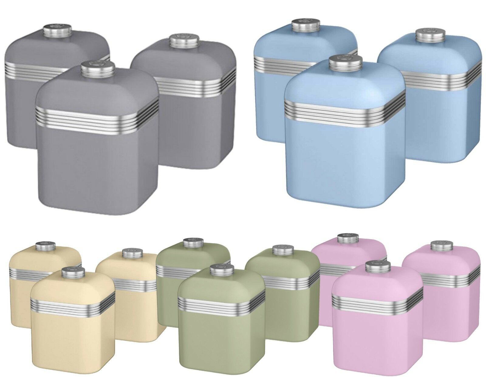 Set of 3 Food Canister Storage Pots Pots Pots Tea Coffee Sugar Jar Caddy Container Tin New e47194