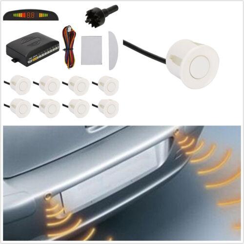 8 Sensores De Aparcamiento Blanco Sistema de Alarma de radar de marcha atrás automática van Taladro De Pantalla Led