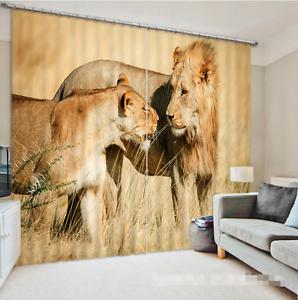 3D Rey León 632 Cortinas de impresión de cortina de foto Blockout Tela Cortinas Ventana Reino Unido