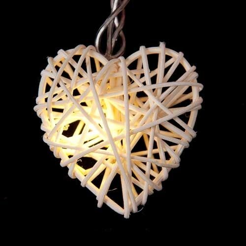 100 White Heart Cane Rattan Light Wedding Balconey Room Patio10m LONG AUS Plug