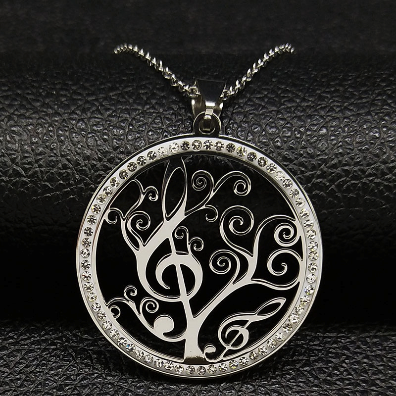 Stainless Steel Chain Tree Tree Of Life Pendant Rhinestones Life Tree Clef