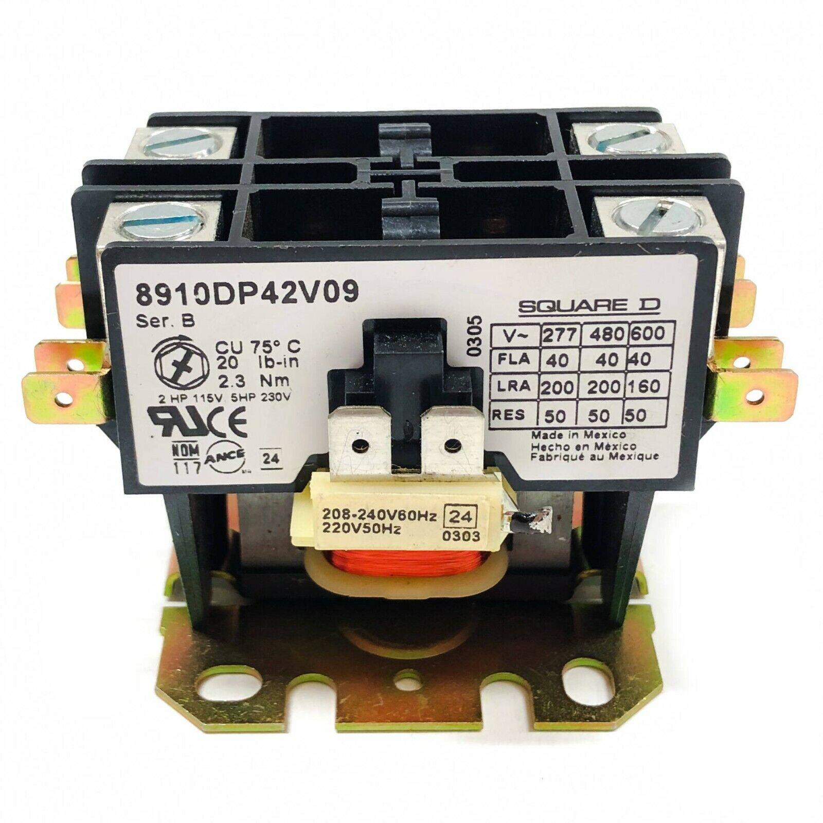 8910dp42v09 Square D Contactor 40fla 50 a Res 208-240v 60hz Coil 2 Pole for sale online