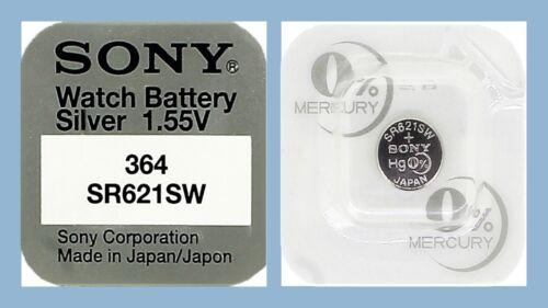 25 x Sony 364 Knopfzellen Uhrenbatterie V364 SR621SW SR60 SR621 AG1 Silver