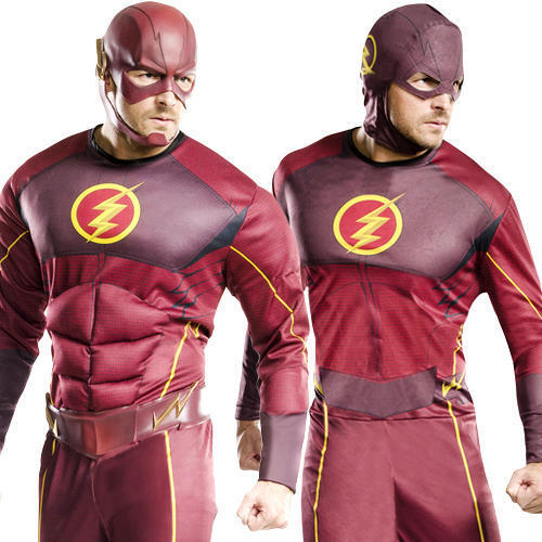The Flash Mens Fancy Dress DC Comic Book Superhero Superhero Superhero Character Adult Costume New | Sehr gute Farbe