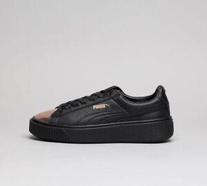 sports shoes 22b76 bff6a Details about Womens Puma Basket Platform Metallic Black/Gold Trainers RRP  £84.99