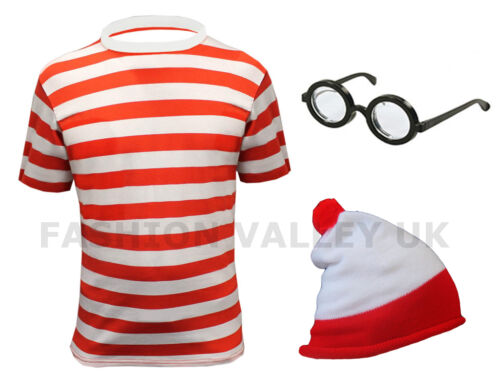 WOMENS RED WHITE STRIPED T SHIRT WORLD BOOK DAY WEEK FANCY DRESS LADIES COSTUME