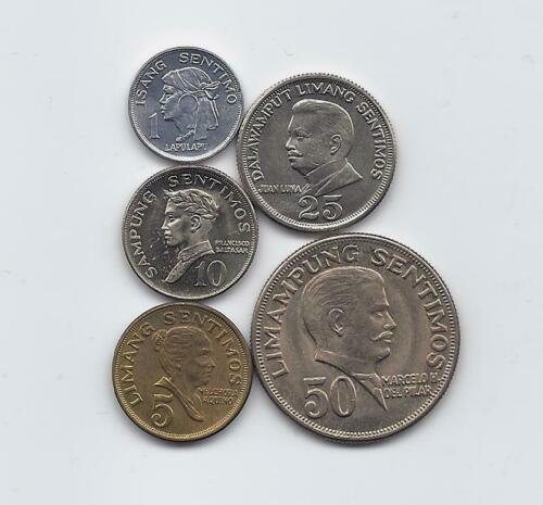 PHILIPPINES 1967-1974 5 COINS UNCIRCULATED SET 1 5 10 25 50 SENTIMOS