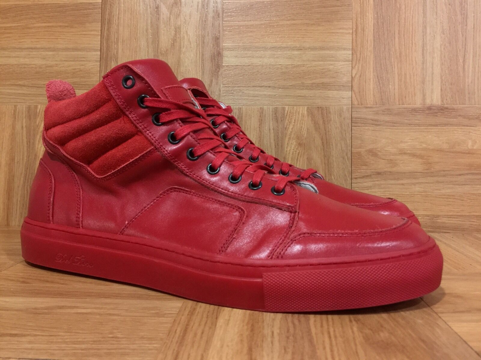 RARE Del Tgold D.T Red Leather Hi Top Boxing Sneakers Made In  Sz 16 SICK