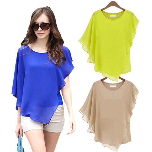 Summer Women's Short-sleeved T-shirt Flounced Chiffon Blouse Tops Bat Shirt