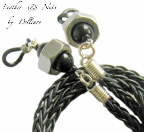 ✫BLACK LEATHER /& NUTS✫ MENS EYEGLASS GLASSES SPECTACLES CORD HOLDER CHAIN