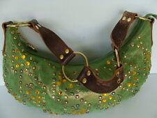 Betsey Johnson Green/Brown Leather Hobo Shoulder Bag Studded Gemmed Purse Excel.
