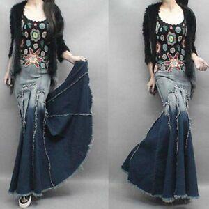 Donna-Jeans-a-Coda-di-Pesce-Sirena-Vestito-Sbiadito-Swing-Frangia-Aderente