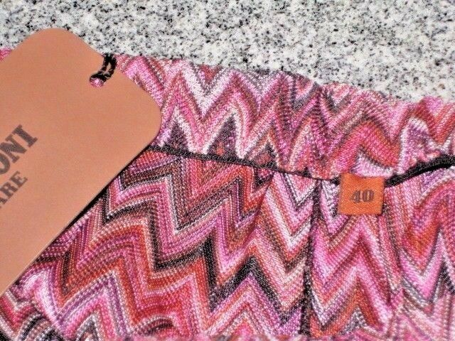 FAB MISSONI (ORNG LBL) LBL) LBL) UNIQUE ZIG-ZAG LUREX SEXY DRESS STRAPLESS SLIT NWT 40 2 4 ea748a