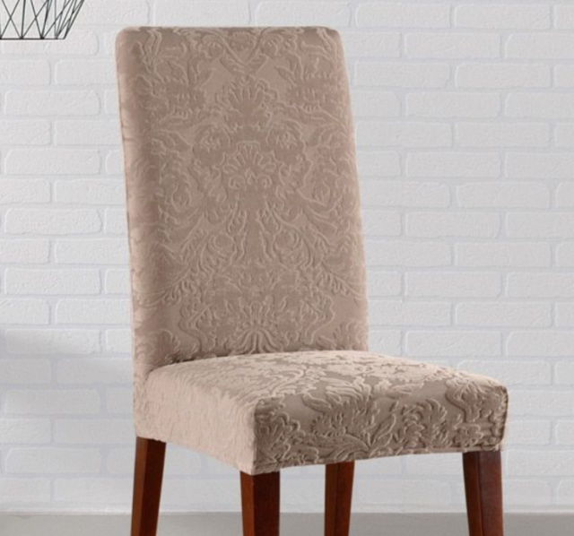 Sure Fit Stretch Jacquard Damask Short Dining Room Chair ...