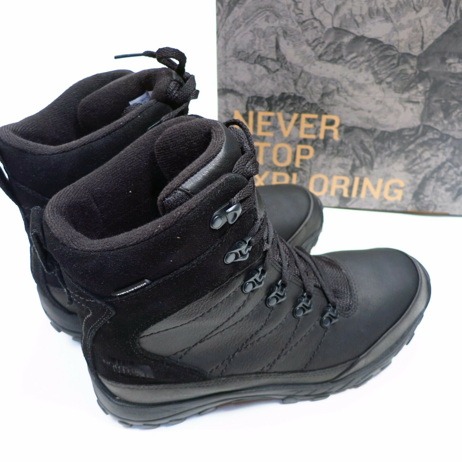 $120 Men's North Chilkat Face Chilkat North Leather Boots Size 11.5 Black NEW f30da1