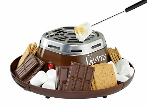 Electric S/'mores Maker Toast Marshmallow Roast 4 compartment Serving Tray Fork