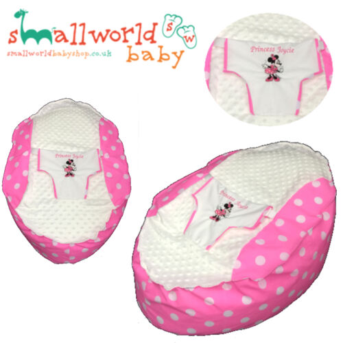 BABY BEAN BAG PERSONALISED PRE FILLED CHAIR SEAT GIRLS BOYS SAFETY HARNESS