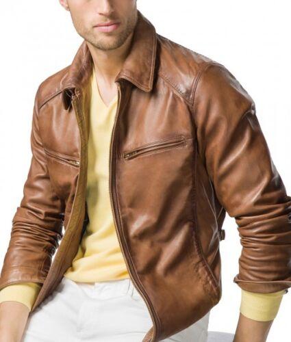 Biker pelle marrone uomo da stile in Slim Fit Giacca ITqAw15