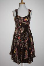 F.C.U.K. JEANS Brown Butterfly Print Metallic Edge Fit & Flare Sundress Size 6