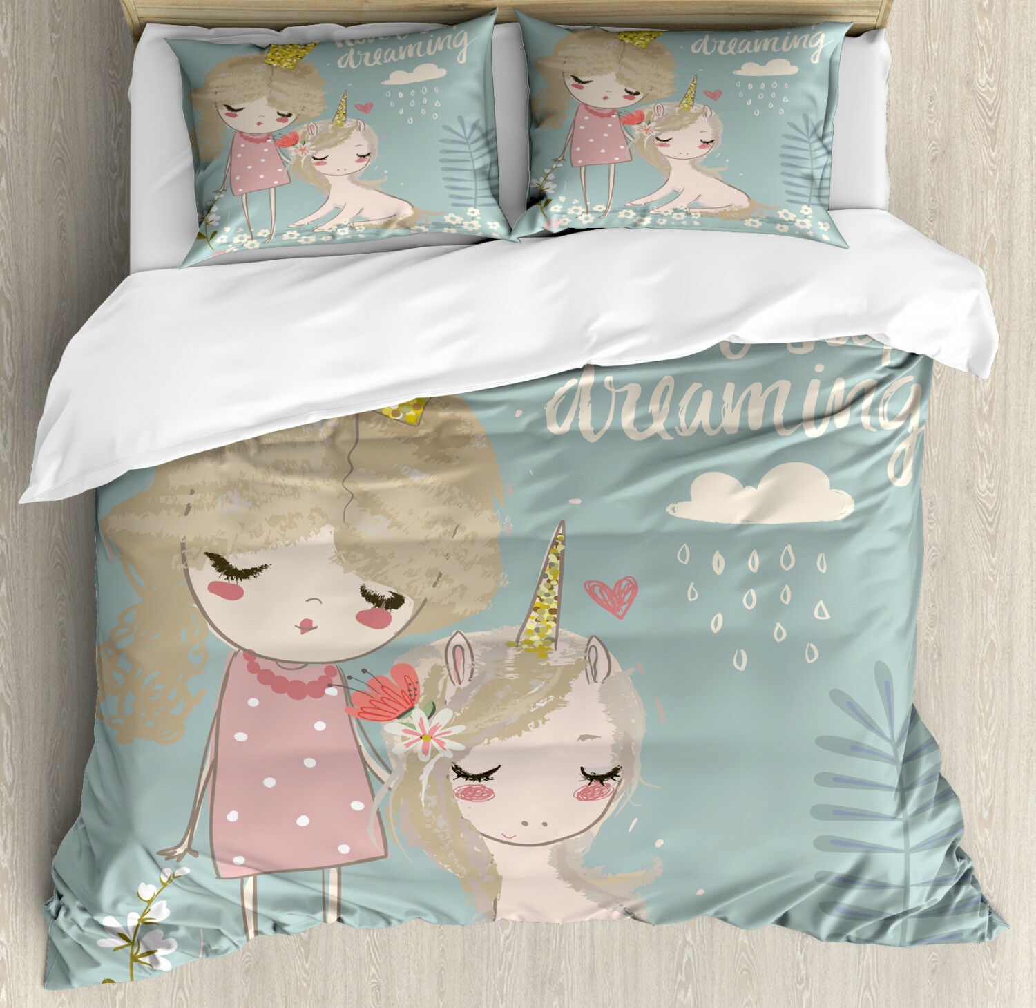 Quote Duvet Cover Set with Pillow Shams Princess Girl Unicorn Print