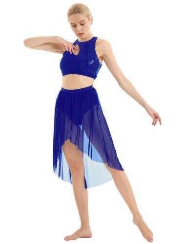 Womens Lyrical Latin Ballet Dance Dress Sequins Crop Top Skirt Costume Dancewear