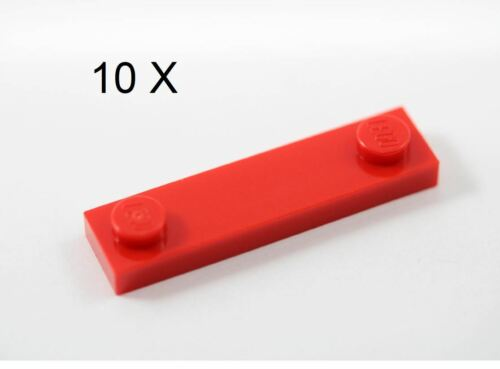 LEGO® Red Plate 1 x 4 with 2 Studs Design ID 92593