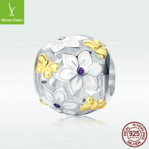 Modern-925-Sterling-Silver-Charm-Bead-Butterfly-amp-Flower-Fit-Women-Bracelet-Gift