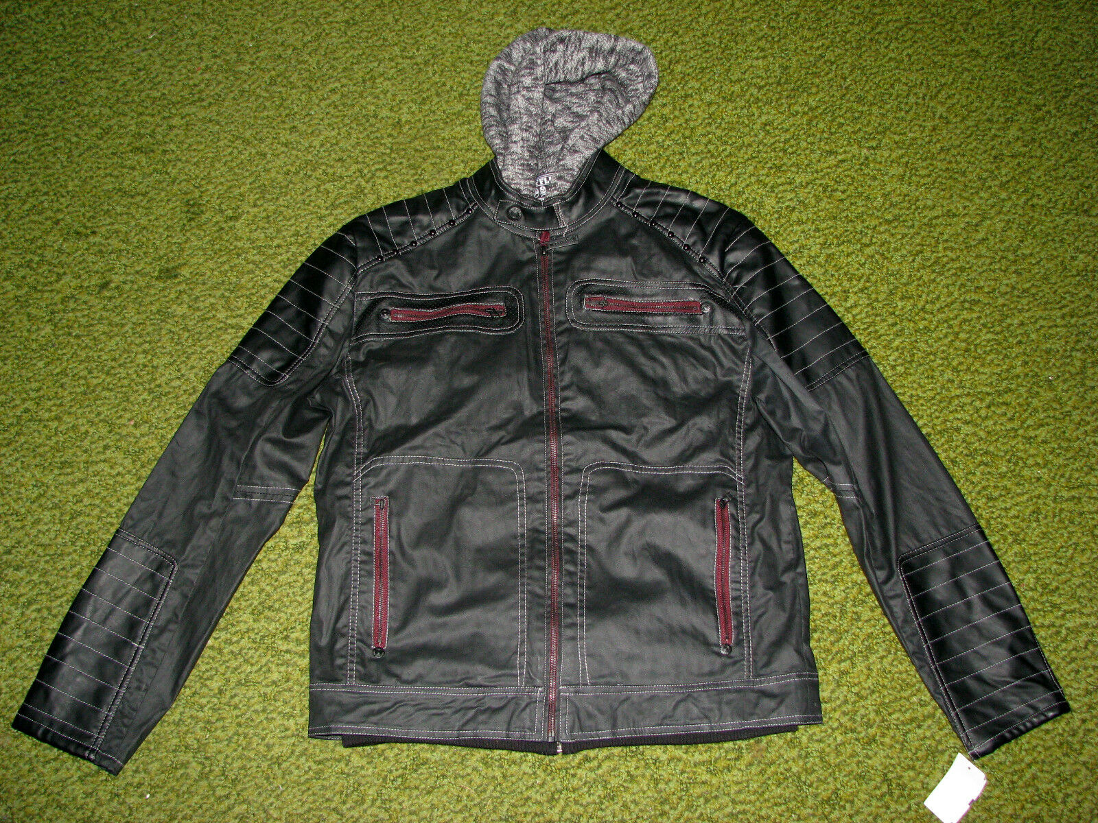 "$188 (S) AFFLICTION ""HALF MEASURE"" 3 in 1 Moto JACKET/ COAT/ HOODED VEST"