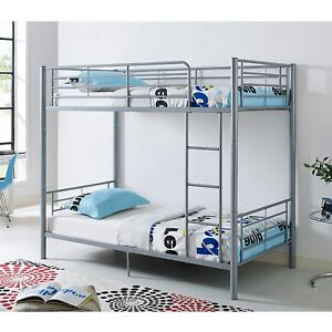 Top Quality Sturdy Silver 3ft Single Metal Bunk Bed With Mattresses