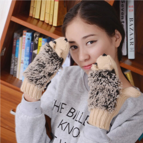 Girls In Winter Warm Outdoor Gloves Woman/'s Cartoon Hedgehog Cotton Gloves Good