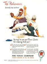 1948 Baseball Player Sliding into Base art Texaco Gasoline vintage print ad