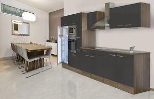 Dettagli su Cucina Cucinino Blocco Vuoto respekta 360 cm Rovere York Grigio  Lucido