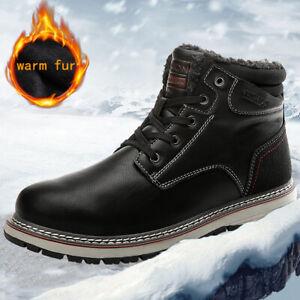 Para-Hombres-Zapatos-Botas-De-Invierno-Nieve-Informal-De-Senderismo-Zapatillas-De-Piel-Calido