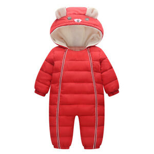 25950550f5e0 Newborn Baby Snowsuit Boy Girl Romper Jumpsuit Winter Clothes ...