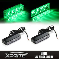 2x Green 4 LED Emergency Warning Vehicle Strobe Lights Side Marker Deck Dash