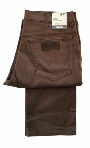 Mens Wrangler Texas Moleskin Jean Regular Fit Stretch Zip Fly Bracken Brown