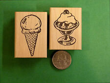 Ice Cream Cone and Ice Cream Sundae, Set of 2 Wood Mounted Rubber Stamps