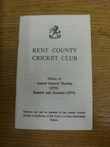 1976 Cricket Kent County Cricket Club  Notice Of Annual General Meeting 1976 amp - Birmingham, United Kingdom - 1976 Cricket Kent County Cricket Club  Notice Of Annual General Meeting 1976 amp - Birmingham, United Kingdom