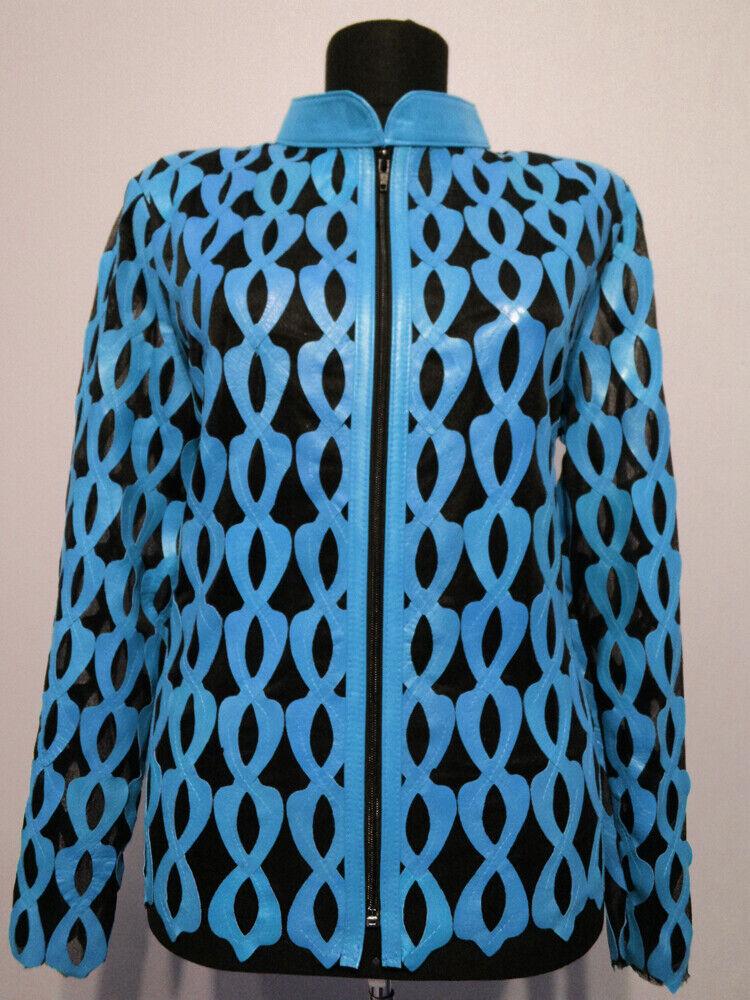 Chaqueta de hoja de piel azul claro  Mujer Todos Los Colors Tallas Real Suave Piel De Cordero Zip D5  salida para la venta
