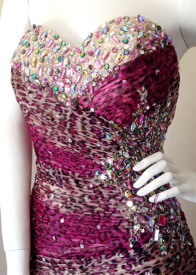 PINK LEOPARD MERMAID  LACE-UP BEADED FORMAL EVENING PROM PROM PROM BALL BRIDESMAID GOWN 4eb1f1