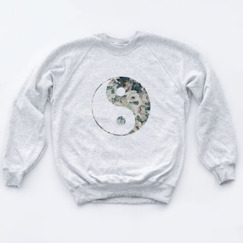 YING YANG Floreale Maglione Hipster Hype PEACE LOVE 60s gioventù Mens Girls Felpa