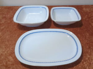 3-Pcs-Convolute-Antique-Art-Deco-Weimar-Porcelain-Platter-2-x-Bowl-around